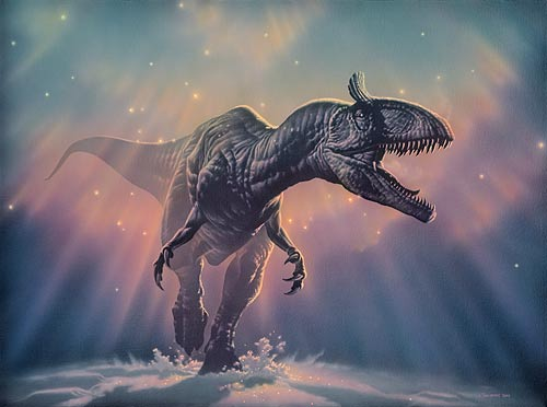 Painting of Cryolophosaurus by Joe Tucciarone