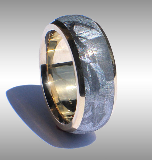 Gibeon Meteorite Ring With 14k Gold Lining Rails