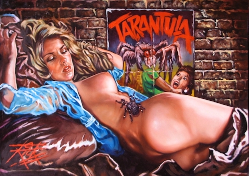 Original Pulp Horror Pin Up Painting