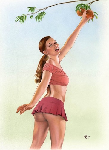 Country Girl Pin Up Painting