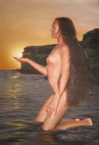 Nude Pinup at beach painting